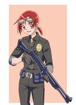 06erunium 1girl :d beige_background belt belt_buckle belt_pouch benelli_m1014 black_gloves black_necktie brown_gloves buckle cowboy_shot emblem gloves gun highres hino_akane_(smile_precure!) holding holding_weapon looking_at_viewer los_angeles_police_department necktie open_mouth pocket police pouch precure red_eyes red_hair short_hair shotgun simple_background smile smile_precure! solo standing sunglasses sunglasses_on_head trigger_discipline uniform weapon wing_collar