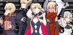 5girls ahoge artoria_pendragon_(all) artoria_pendragon_(lancer_alter) artoria_pendragon_(swimsuit_rider_alter) baozi blonde_hair bow breasts brown_eyes cape commentary_request crossed_arms eating fate/grand_order fate_(series) food food_in_mouth fur_cape glasses hair_bow height_chart jeanne_d'arc_(fate)_(all) jeanne_d'arc_alter_santa_lily large_breasts looking_at_viewer multiple_girls mysterious_heroine_x_(alter) okita_souji_(alter)_(fate) okita_souji_(fate)_(all) over_shoulder pale_skin popcorn sack scarf smile sweater teshima_nari upper_body weapon weapon_over_shoulder yellow_eyes
