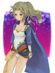 1girl bad_anatomy bare_legs blonde_hair breasts cape capelet cleavage cloak commentary_request earrings fantasy final_fantasy final_fantasy_vi gold_trim graphite_(medium) gurumi_mami jewelry leotard long_hair ponytail solo tina_branford traditional_media