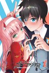 1boy 1girl bangs black_hair blue_eyes blush commentary couple darling_in_the_franxx eyebrows_visible_through_hair green_eyes hair_ornament hairband hand_up heart heart_hands hetero hiro_(darling_in_the_franxx) horns long_hair long_sleeves looking_at_viewer military military_uniform necktie oni_horns orange_neckwear pink_hair red_horns red_neckwear short_hair signature uniform user_lki5275 v white_hairband zero_two_(darling_in_the_franxx)