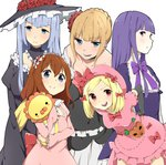5girls bad_id bad_pixiv_id beatrice blonde_hair blue_eyes bow brown_hair choker dress flower frederica_bernkastel hair_flower hair_ornament hairband hand_on_hip hat lambdadelta leaning_forward multiple_girls open_mouth pink_hat purple_eyes purple_hair red_eyes rima_(rimarip) sakutarou silver_hair smile stuffed_animal stuffed_lion stuffed_toy umineko_no_naku_koro_ni ushiromiya_maria virgilia