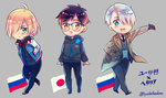 3boys axis_powers_hetalia black_gloves black_hair blonde_hair blue-framed_eyewear blue_eyes brown_eyes coat glasses gloves green_eyes hair_over_one_eye hands_in_pockets himaruya_hidekazu_(style) jacket japanese_flag katsuki_yuuri male_focus multiple_boys mushi_kei necktie open_mouth parody russian_flag silver_hair smile style_parody track_jacket viktor_nikiforov yuri!!!_on_ice yuri_plisetsky