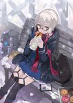1girl ahoge andrian_gilang artoria_pendragon_(all) bench black-framed_eyewear black_coat black_legwear blue_shirt blue_skirt braid cellphone coat commentary_request doughnut fate/grand_order fate_(series) food fringe garter_straps glasses highres holding holding_food hood hood_down hooded_coat looking_at_viewer mysterious_heroine_x_(alter) on_bench open_clothes open_coat orange_eyes park_bench parted_lips pastry_box phone plaid plaid_scarf pleated_skirt red_scarf scarf school_briefcase semi-rimless_eyewear shirt sidelocks silver_hair sitting sitting_on_bench skirt smartphone snow solo thighhighs under-rim_eyewear