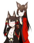2girls akagi-chan_(azur_lane) akagi_(azur_lane) alternate_hairstyle amagi_(azur_lane) animal_ears azur_lane bangs bell black_kimono blunt_bangs blush breasts brown_hair chair choker cleavage closed_eyes commentary commentary_request eyebrows_visible_through_hair eyeliner eyeshadow fang fox_ears fox_girl hair_bell hair_ornament hands_clasped hands_together japanese_clothes kimono large_breasts long_hair long_sleeves looking_away makeup multiple_girls open_mouth own_hands_together short_eyebrows sitting standing steed_(steed_enterprise) thick_eyebrows wide_sleeves