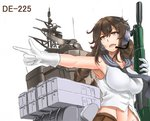 1girl armpits assault_rifle braid breasts brown_eyes brown_hair brown_skirt character_name gloves gun headset howa_type_89 kantai_collection large_breasts long_hair midriff navel noshiro_(kantai_collection) open_mouth outstretched_arm pointing rifle saizu_nitou_gunsou school_uniform serafuku skirt sleeveless solo twin_braids weapon weapon_request white_background white_gloves
