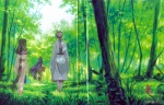 2girls air aratani_tomoe forest from_behind highres kannabi_no_mikoto multiple_girls nature ryuuya scan tree uraha