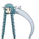 1girl :d absurdly_long_hair animal_ears blue_eyes blue_hair drill_hair eyebrows_visible_through_hair fish head_fins long_hair open_mouth simple_background smile solo ssack touhou twin_drills very_long_hair wakasagihime wakasagihime_(fish) what white_background