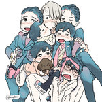 6+boys =_= black_hair blush child closed_eyes crossed_legs dog drooling eugenio2nd glasses gloves hair_over_one_eye hand_on_another's_hip holding_hands ice_skates jewelry katsuki_yuuri male_focus medal multiple_boys multiple_persona necktie necktie_on_head open_mouth ring scarf silver_hair sitting sitting_on_lap sitting_on_person skates smile vicchan viktor_nikiforov younger yuri!!!_on_ice