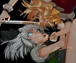 2girls :d ascot bangs belt black_background black_belt black_neckwear black_ribbon black_skirt blonde_hair blood blood_from_mouth blue_eyes breasts clenched_teeth commentary_request eye_contact face-to-face fang flandre_scarlet glowing glowing_eyes gotoh510 green_vest hair_between_eyes hair_ribbon holding holding_sword holding_weapon katana konpaku_youmu leg_up looking_at_another multiple_girls neck_ribbon no_hat no_headwear open_mouth profile puffy_short_sleeves puffy_sleeves red_eyes red_vest reflection ribbon shirt short_hair short_sleeves silver_hair simple_background skirt small_breasts smile sword teeth thighs touhou v-shaped_eyebrows vest weapon white_shirt wrist_cuffs yellow_neckwear