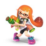 1girl 3d absurdres bike_shorts black_shorts domino_mask full_body highres ink_tank_(splatoon) inkling long_hair mask official_art pointy_ears shirt shoes shorts single_vertical_stripe smile sneakers solo splatoon splattershot_(splatoon) standing super_smash_bros. super_smash_bros_ultimate super_soaker t-shirt tentacle_hair weapon