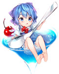 1girl :q alternate_hair_length alternate_hairstyle bangs barefoot bloomers blue_bow blue_dress blue_eyes blue_hair bow bowtie cherry cirno cup dress drink drinking_glass eyelashes feet flat_chest food frills fruit full_body glass glint hair_bow highres holding holding_spoon ice ice_wings in_container in_cup lens_flare licking_lips loose_bowtie minigirl oversized_object partially_submerged red_bow red_neckwear shirt short_hair short_sleeves sitting soles solo takotsu tongue tongue_out touhou transparent transparent_wings underwear white_background white_shirt wings