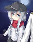 1girl admiral_(kantai_collection) anchor_symbol bangs black_hat black_skirt blue_eyes blurry blurry_foreground blush closed_mouth commentary_request depth_of_field enpera eyebrows_visible_through_hair flat_cap fukiaki full_moon hair_between_eyes hat hibiki_(kantai_collection) horizon jacket kantai_collection long_hair long_sleeves looking_at_viewer military_jacket moon night night_sky ocean outdoors pier pleated_skirt red_scarf scarf silver_hair skirt sky sleeves_past_wrists smile solo_focus very_long_hair water white_jacket
