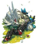 1boy ahoge black_pants blonde_hair closed_eyes closed_mouth commentary_request ear_piercing gen_4_pokemon gladio_(pokemon) grass highres hood hood_down hoodie long_sleeves lucario lying on_back pants piercing poke_ball poke_ball_(generic) pokemon pokemon_(creature) pokemon_(game) pokemon_sm pouch red_footwear sa-dui shoes shoulder_spikes signature silvally sleeping spikes