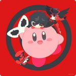 2boys amamiya_ren arsene_(persona_5) black_hair black_headwear black_wings blush_stickers chibi closed_eyes commentary_request crossover hat holding holding_mask kirby kirby_(series) long_sleeves looking_at_viewer mask multiple_boys on_head open_mouth persona persona_5 red_background rizu_(rizunm) short_hair super_smash_bros. top_hat wings