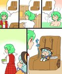 2girls :3 aqua_hair bath bathing black_headwear blush_stickers chair changing_room chibi comic commentary cravat dressing drooling green_hair green_shorts hat hat_ribbon imagining kazami_yuuka komeiji_koishi koyama_shigeru long_sleeves massage_chair motion_lines multiple_girls open_mouth partially_submerged plaid plaid_skirt plaid_vest red_eyes ribbon shirt short_hair shorts sitting skirt sleeping smile third_eye thought_bubble touhou translated vest washbowl white_legwear white_shirt yellow_neckwear yellow_shirt younger
