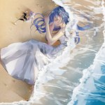 1girl bare_arms bare_shoulders barefoot beach blue_hair blue_nails closed_eyes closed_mouth commentary_request dress flower from_above full_body hair_ornament long_hair lying nail_polish ocean on_side profile sand see-through sleeping sleeveless sleeveless_dress solo tadatsu vocaloid vocanese water white_dress white_flower xin_hua