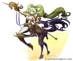 1girl armor blue_eyes breasts brown_footwear brown_gloves centaur company_name dougan_calpis_con elbow_gloves full_body gloves green_hair hair_ornament headpiece holding_lance index_finger_raised iolite_link lance long_hair looking_at_viewer medium_breasts monster_girl official_art polearm simple_background smile solo standing tail twintails very_long_hair weapon