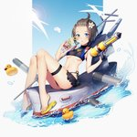 1girl ahoge bikini black_bikini blue_eyes blue_sky blush breasts brown_hair commentary_request copyright_request cup day drink drinking_straw flower hair_flower hair_ornament highres holding holding_cup iiiroha looking_at_viewer navel outdoors rubber_duck sandals ship sitting sky small_breasts soaking_feet super_soaker swimsuit thigh_strap torpedo turret underboob watercraft yellow_footwear
