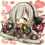 1girl 3others 7:08 absurdres bad_id bad_twitter_id chibi commentary girls_frontline goliath_(girls_frontline) grey_hair hair_ribbon heart heart-shaped_pupils highres jacket long_hair multiple_others name_tag radio ribbon sangvis_ferri symbol-shaped_pupils ump40_(girls_frontline) yellow_eyes