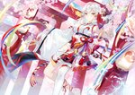 1girl barefoot bell blue_sky cherry_blossoms day ekita_xuan fan highres jingle_bell lantern long_hair looking_at_viewer original outdoors paper_fan paper_lantern ribbon single_thighhigh sky solo thighhighs torii white_hair white_legwear wide_sleeves yellow_eyes