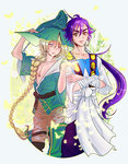 2boys ahoge androgynous bandaged_arm bare_chest blonde_hair braid butterfly collarbone crossed_arms earrings eyebrows grey_eyes hand_on_headwear hat hoop_earrings jewelry long_hair magi_the_labyrinth_of_magic male_focus multiple_boys orange_eyes ponytail purple_hair sinbad_(magi) single_braid smile thick_eyebrows wizard_hat yibi yunan