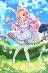1girl :d animal_ears bangs bell blonde_hair blue_eyes blue_shirt blue_sky blurry blurry_background blurry_foreground blush breasts bunny_ears castle checkerboard_cookie cloud cloudy_sky collared_shirt commentary_request commission cookie cup day depth_of_field eyebrows_visible_through_hair flower food frilled_skirt frills head_tilt highres holding holding_tray jingle_bell long_hair looking_at_viewer medium_breasts miyo_(user_zdsp7735) open_mouth original outdoors petals petticoat puffy_short_sleeves puffy_sleeves red_flower red_rose rose rose_bush shirt shoes short_sleeves skirt sky smile solo tea teacup teapot thighhighs tray upper_teeth very_long_hair white_footwear white_legwear white_skirt