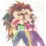 4boys ;d anger_vein angry annoyed armor bandana bardock black_eyes black_hair black_legwear blush brothers clenched_teeth copyright_name dougi dragon_ball dragon_ball_z facial_scar father_and_son feet_out_of_frame fingernails furrowed_eyebrows grandfather_and_grandson hands_clasped happy highres hug hug_from_behind interlocked_fingers kakipiinu long_hair looking_at_another looking_up male_focus multiple_boys nervous one_eye_closed open_mouth own_hands_together raditz red_bandana red_headwear scar scar_on_cheek siblings simple_background smile son_gohan son_gokuu standing sweatdrop teeth uncle_and_nephew very_long_hair white_background wristband