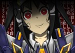 1girl android lisa_(pso2) phantasy_star phantasy_star_online_2 red_eyes smile translation_request yandere yandere_trance