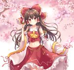 1girl ascot bangs bare_shoulders blush bow branch breasts brown_hair cherry_blossoms closed_mouth collarbone commentary_request cowboy_shot crop_top dango detached_sleeves eyebrows_visible_through_hair food frilled_bow frilled_shirt_collar frilled_skirt frills gradient gradient_background hair_between_eyes hair_bow hair_tubes hakurei_reimu holding holding_food long_hair long_skirt long_sleeves mayo_(miyusa) medium_breasts midriff navel petals petticoat pink_background red_bow red_eyes red_ribbon red_shirt red_skirt ribbon ribbon-trimmed_sleeves ribbon_trim sanshoku_dango shirt sidelocks skirt skirt_set smile solo spring_(season) standing stomach tareme tassel touhou wagashi white_background white_sleeves wide_sleeves yellow_neckwear