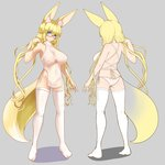 1girl amino_dopple animal_ears bangs bare_arms blonde_hair blue_eyes blunt_bangs breasts commentary_request covered_nipples eyebrows_visible_through_hair fox_ears fox_tail grey_background hand_up highres large_breasts legs_apart long_hair low_twintails multiple_views original panties parted_lips red-framed_eyewear semi-rimless_eyewear short_eyebrows side-tie_panties simple_background standing tabi tail thighhighs twintails under-rim_eyewear underwear very_long_hair white_legwear white_panties