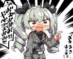 1girl anchovy anzio_military_uniform blush constricted_pupils drill_hair emphasis_lines girls_und_panzer green_hair kanikama long_hair lowres military military_uniform orange_eyes solo sweatdrop translated twin_drills uniform