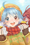 1girl ahoge artist_name blue_eyes blue_hair blush coat commentary fingerless_gloves food gloves hat heterochromia plaid plaid_scarf red_eyes scarf signature solo sparkle steam sweet_potato tatara_kogasa touhou translated yakiimo yuzuna99