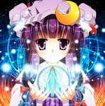 15_(tooka) 1girl bow crescent hair_bow hat long_hair orb patchouli_knowledge purple_eyes purple_hair solo touhou