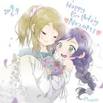 2girls artist_name ayase_eli blonde_hair blush bow bowtie braid carrying closed_eyes commentary_request dated dress flower formal green_eyes happy_birthday heart highres kinacojjs long_hair looking_at_another love_live! love_live!_school_idol_project multiple_girls open_mouth petals ponytail princess_carry purple_hair scrunchie simple_background suit teeth tongue toujou_nozomi veil wedding wedding_dress white_background wife_and_wife yuri