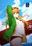 1girl arm_up ass bikini_bottom blue_eyes blue_sky blurry blurry_background closed_mouth cloud day daye_bie_qia_lian eyebrows_visible_through_hair eyepatch eyewear_on_head green_jacket highres holding jacket league_of_legends long_hair looking_at_viewer neon_genesis_evangelion open_clothes open_jacket orange_hair profile rescue_board shikinami_asuka_langley sky solo souryuu_asuka_langley standing sunglasses water whistle