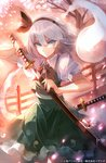 1girl 60mai >:( black_bow black_hairband black_neckwear black_ribbon blue_eyes bow bowtie cherry_blossoms commentary_request eyebrows_visible_through_hair flower green_skirt green_vest hair_between_eyes hair_ribbon hairband hitodama holding holding_sheath holding_sword holding_weapon katana konpaku_youmu konpaku_youmu_(ghost) looking_at_viewer ofuda puffy_short_sleeves puffy_sleeves railing ribbon sheath shirt short_hair short_sleeves silver_hair skirt solo standing sword touhou translation_request unsheathing v-shaped_eyebrows vest weapon white_flower white_shirt wing_collar