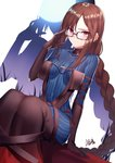 1girl adjusting_eyewear black-framed_eyewear black_dress black_gloves blue_bodysuit bodysuit braid breasts brown_hair center_opening closed_mouth commentary_request consort_yu_(fate) covered_collarbone covered_navel dress dutch_angle ear_piercing eyebrows_visible_through_hair fate_(series) glasses gloves gogatsu_fukuin highres long_hair looking_at_viewer medium_breasts piercing red_eyes ribbon-trimmed_dress sidelocks single_braid sitting striped_bodysuit very_long_hair zoom_layer
