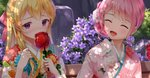 2girls :d ^_^ bang_dream! bangs bench blonde_hair blush bow candy_apple closed_eyes covered_mouth day eyebrows_visible_through_hair floral_print flower food furisode hair_bow hair_flower hair_ornament holding holding_food japanese_clothes kimono long_hair lunacle maruyama_aya multiple_girls open_mouth outdoors park_bench pink_flower pink_hair pink_kimono print_kimono purple_eyes purple_flower red_bow shirasagi_chisato smile white_flower white_kimono