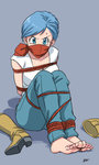 1girl bandana_over_mouth barefoot blue_eyes blue_hair boots bound breasts bulma cleavage cloth_gag dragon_ball dragon_ball_super earrings feet footwear_removed full_body gag gagged highres improvised_gag jewelry lost_one_zero nail_polish official_style over_the_mouth_gag over_the_nose_gag red_nails rope shadow short_hair signature solo sweat tied_up toenail_polish yellow_boots