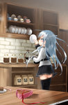 1girl ahoge anchor_symbol black_legwear blue_eyes blue_hair blurry blurry_background blush cabinet cake chocolate chocolate_cake coffee_maker_(object) cup depth_of_field eyebrows_visible_through_hair food fork heart-shaped_box hibiki_(kantai_collection) highres indoors jar kantai_collection kitchen long_sleeves oni_(onirenger) open_box plate profile saucer shelf shiny shiny_hair shirt sideways_mouth slice_of_cake solo standing stone_wall straight_hair thighhighs verniy_(kantai_collection) wall white_shirt wooden_table zettai_ryouiki