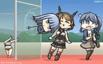 /\/\/\ 3girls bag bangs black_skirt blue_eyes blue_hair blunt_bangs brown_hair brown_legwear closed_eyes commentary dated disembodied_head full_body gotland_(kantai_collection) grey_eyes hairband hammer_throw hamu_koutarou hatsukaze_(kantai_collection) headgear highres kantai_collection long_hair miniskirt mole mole_under_eye multiple_girls mutsu_(kantai_collection) name_tag open_mouth ponytail radio_antenna red_legwear shaded_face short_hair skirt sports_bikini standing surprised