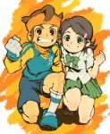 1boy 1girl brown_hair endou_mamoru green_eyes green_hair grin headband inazuma_eleven inazuma_eleven_(series) kino_aki school_uniform smile usikani