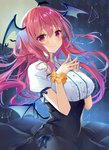 1girl alternate_costume argyle argyle_background bangs bat black_skirt blue_ribbon blush breasts center_frills commentary_request constellation demon_wings eyebrows_visible_through_hair full_moon hair_between_eyes hands_up head_wings high-waist_skirt koakuma large_breasts long_hair looking_at_viewer low_wings moon natsuki_(ukiwakudasai) night night_sky outdoors own_hands_together puffy_short_sleeves puffy_sleeves red_eyes red_hair ribbon scrunchie shirt short_sleeves skirt sky smile solo steepled_fingers touhou upper_body white_shirt wing_collar wings wrist_scrunchie yellow_scrunchie