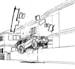 1girl abduction commentary_request flying ground ground_vehicle lineart long_hair monochrome motor_vehicle original road sakifox
