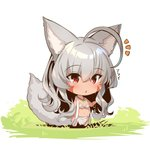 1girl ahoge animal_ear_fluff animal_ears bangs bare_arms bare_shoulders barefoot blush chibi commentary_request dark_skin eyebrows_visible_through_hair facial_mark fox_ears fox_girl fox_tail full_body grass grey_hair hair_between_eyes long_hair notice_lines on_grass original parted_lips red_eyes solo standing tail translation_request very_long_hair white_background yuuji_(yukimimi)