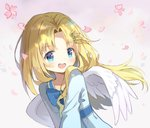1girl :d absurdres aliter angel_wings bangs blonde_hair blue_bow blue_dress blue_eyes blush bow collarbone commentary_request dress eyebrows_visible_through_hair feathered_wings firo_(tate_no_yuusha_no_nariagari) flower grey_background hair_ornament hairclip highres long_hair looking_at_viewer open_mouth parted_bangs petals pink_flower simple_background smile solo tate_no_yuusha_no_nariagari upper_body white_wings wings