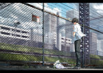 1boy back barbed_wire black_hair black_pants blurry bouquet building chain-link_fence city cloud cloudy_sky commentary_request day fence flower grass grey_footwear hands_together highres kurono_kuro legs_together letterboxed male_focus original outdoors pants praying shirt shoes short_sleeves sky solo vocaloid white_flower white_shirt wind yellow_flower