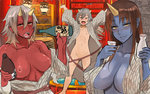 3girls :d \o/ ^_^ ahoge alcohol arms_up blue_oni blue_skin blush bottle breasts brown_hair choko_(cup) cleavage closed_eyes clothes_down collarbone flat_chest hair_between_eyes horns japanese_clothes kimono large_breasts long_hair looking_at_viewer multiple_girls nipples oni oni_horns open_clothes open_mouth original outstretched_arms pepe_(jonasan) red_oni red_skin sake_bottle setsubun sharp_teeth short_hair silver_hair sketch smile teeth tokkuri yellow_eyes