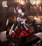 1girl absurdres black_hair book bookshelf breasts brown_eyes cecil86 eyebrows_visible_through_hair highres holding holding_quill indoors looking_at_viewer medium_breasts original paper parted_lips quill railing red_skirt short_hair skirt solo standing