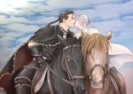 2boys armor arslan arslan_senki black_cape black_gloves black_hair blue_sky cape closed_eyes commentary_request daryoon dated day elbow_gloves gloves heart highres horse horseback_riding kiss male_focus multiple_boys ponytail reins riding risuusagi2 saddle sky white_cape white_hair yaoi yellow_eyes